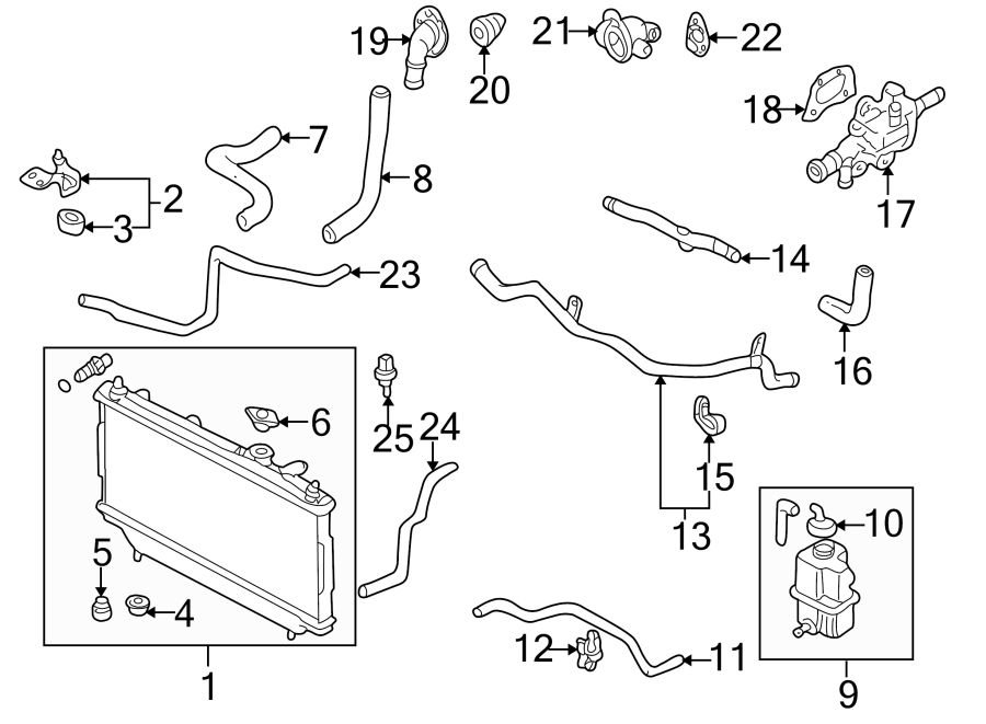 Mazda 626 Engine Coolant Outlet Gasket  Housing  Cylinder