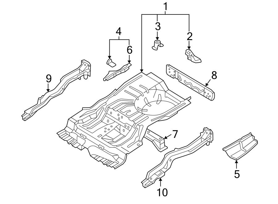 Mazda 626 Floor Extension. Right, Rear, BODY, Side, RAILS ...