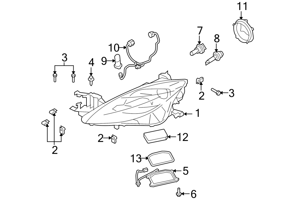 Mazda 6 Headlight Wiring Harness  Xenon  2009