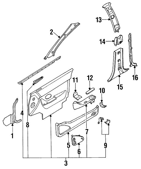 Mazda 929 Bracket Right  R   Support Bracket  Front  Door Trim  Lower  Rear  To Door