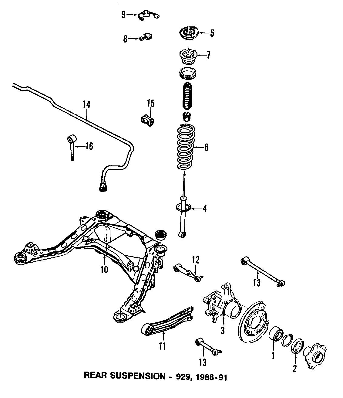 Mazda 929 Suspension Control Arm  Right  Rear  Lower