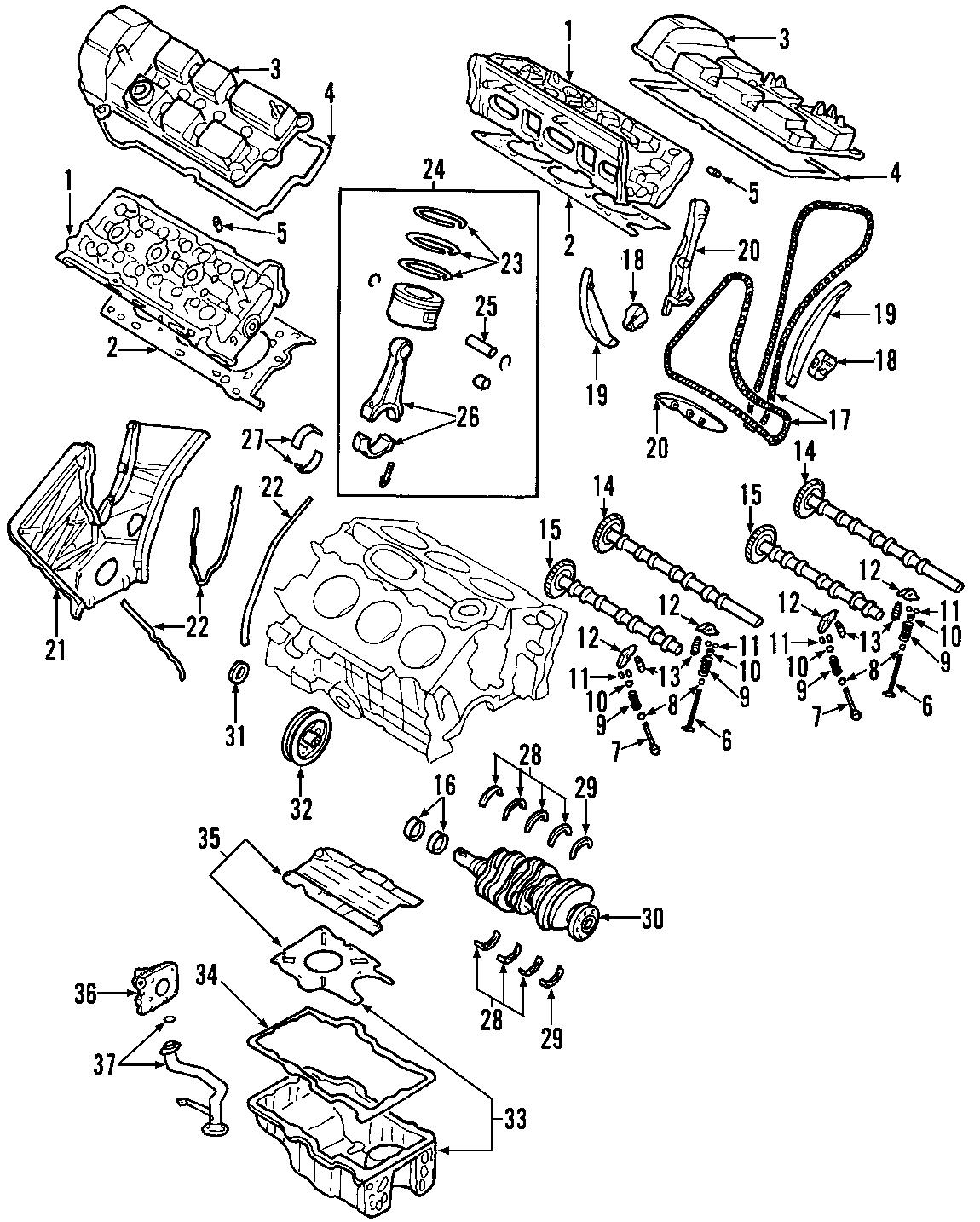 Mazda Tribute Engine Mount  Liter  Rear  Bearings